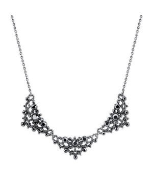 Downton Abbey Hematite Crystal Bib Necklace by 1928 Jewelry