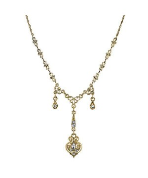 Downton Abbey Crystal Triple Drop Y Necklace by 1928 Jewelry