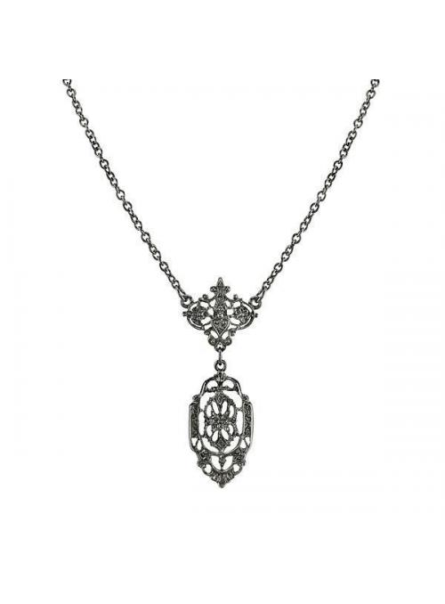 Downton Abbey Black Drop Necklace by 1928 Jewelry
