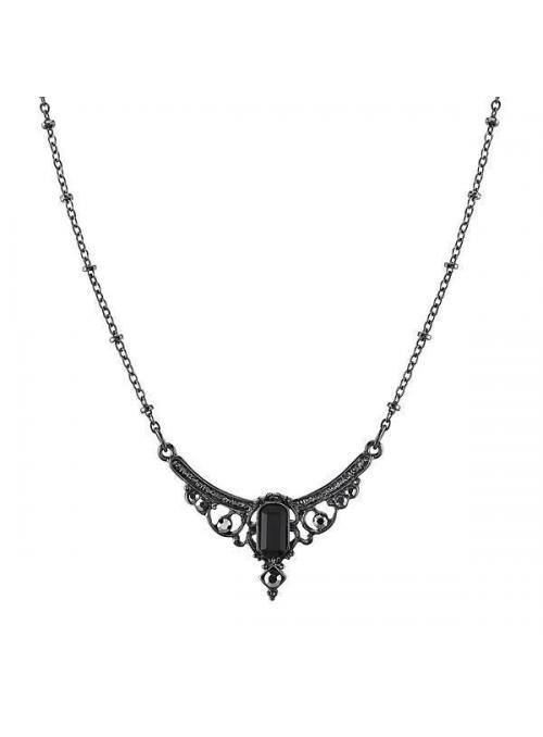 Downton Abbey Hematite Crystal Necklace by 1928 Jewelry