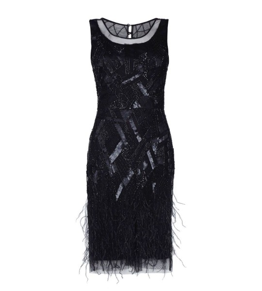 Roaring 20s Feather Dress in Black