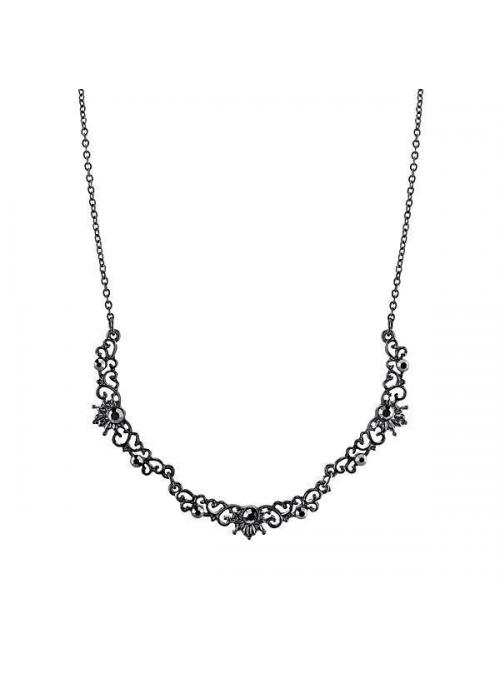 Downton Abbey Hematite Crystal Filigree Scallop Necklace by 1928 Jewelry