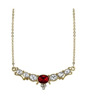 Downton Abbey Elegant Oval Red Stone Necklace by 1928 Jewelry