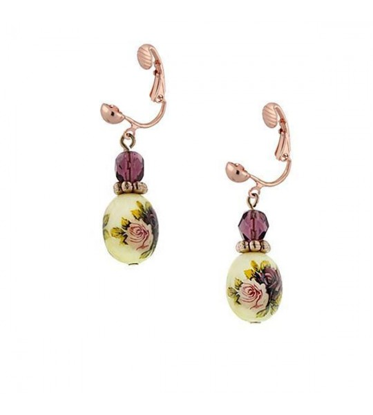 Victorian Inspired Rose Motif Bead Drop Clip On Earrings by 1928 Jewelry