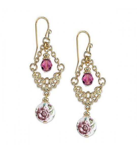 Romantic Vintage Inspired Floral Drop Earrings by 1928 Jewelry