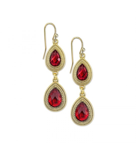 Vintage Inspired Siam Red Crystals Drop Earrings by 1928 Jewelry