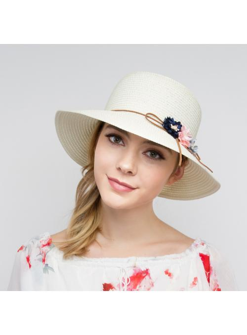 Vintage Inspired Paper Braid Rounded Sun Hat in Ivory