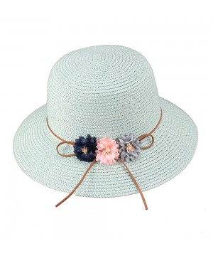 Vintage Inspired Paper Braid Rounded Sun Hat in Mint