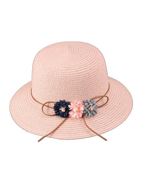 Vintage Inspired Paper Braid Rounded Sun Hat in Pink