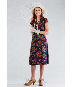 1940s Inspired Romantic Dress in Navy by April Cornell