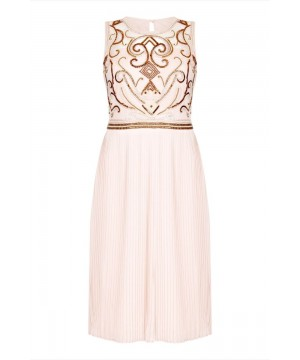 1920s Flapper Dress in Nude Blush