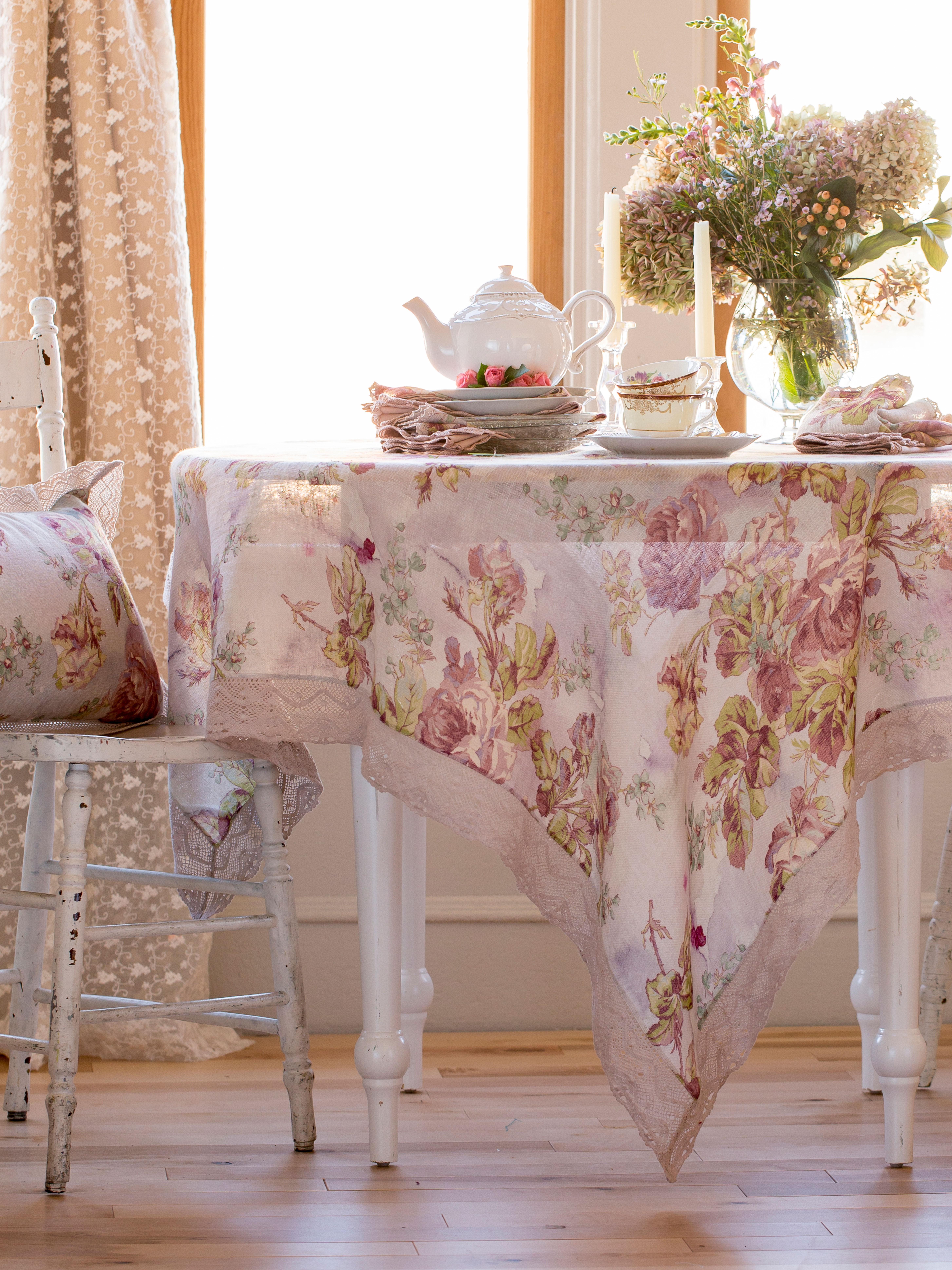 secret garden tablecloth in amethyst by april cornell