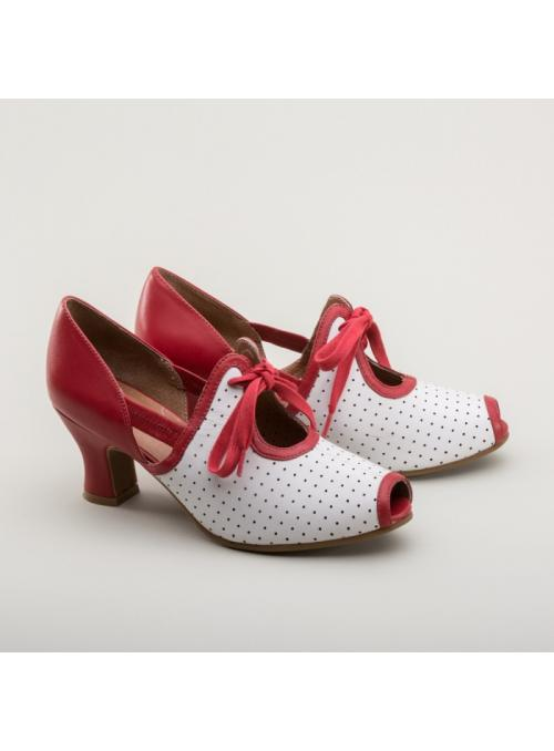 Ginger 1930s Sandals in Red/White by Royal Vintage Shoes