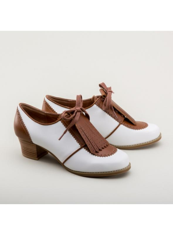 Hepburn 1940s Golf Shoes in Brown/White by Royal Vintage Shoes
