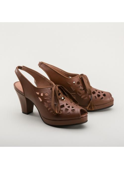 9ef4169554c62 Rita 1940s Cutout Platform Slingbacks in Brown by Royal Vintage Shoes