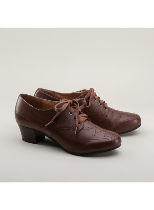 Claire 1940s Oxfords in Brown by Royal Vintage Shoes