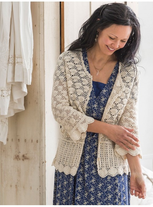 Calliope Cardigan in Ecru by April Cornell