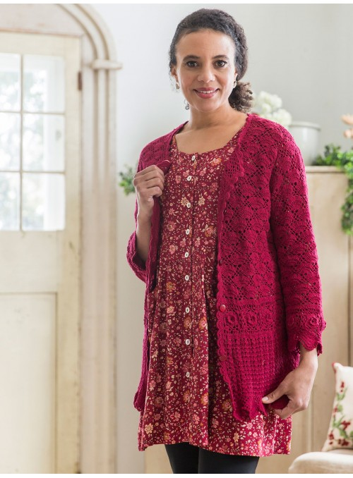 Calliope Cardigan in Crimson by Aprill Cornell