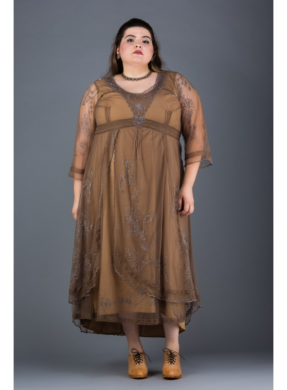 Plus SIze Downton Abbey Gown in Antique Silver by Nataya
