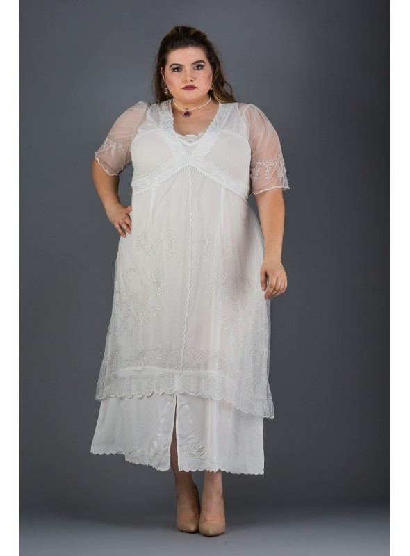 Plus Size Vintage Titanic Dress in Ivory by Nataya