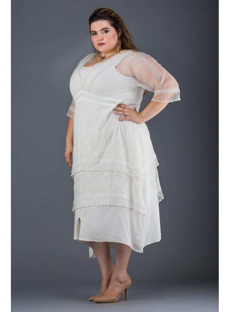 Plus SIze Vintage Titanic Tea Dress in Ivory by Nataya