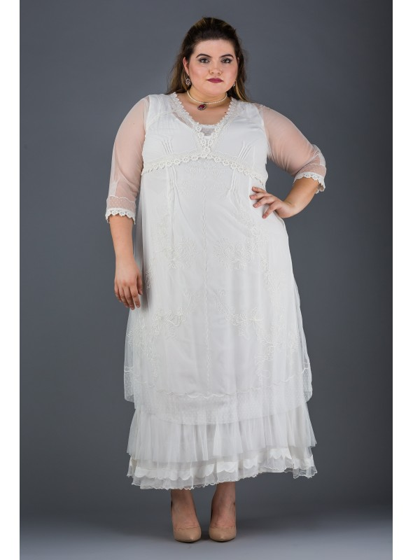 Plus SIze Vintage Style Party Gown in Ivory by Nataya